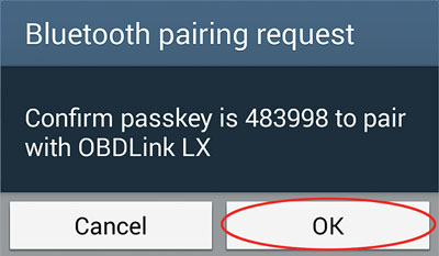 BT pairing request LX OK