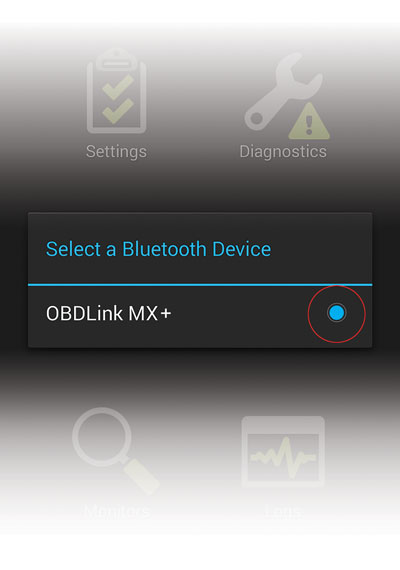 Select MX+ in OBDLink app
