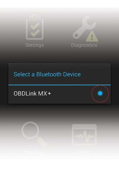 Select MX+ in OBDLink app